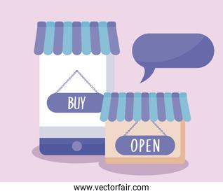 ecommerce online with smartphone and icons