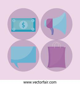 shopping bag with commercial icons