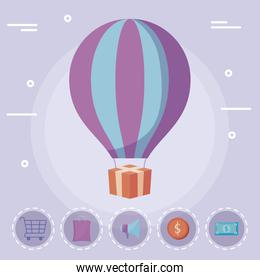 balloon air hot with gift and commercial icons