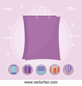 shopping bag with set icons