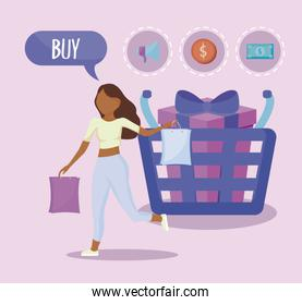 woman with shopping basket and commercial icons