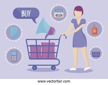 woman with shopping cart and commercial icons