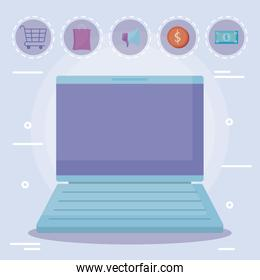 laptop computer with commercial icons