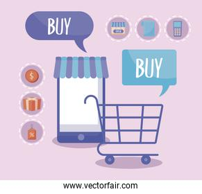 shopping cart with smartphone and commercial icons