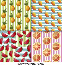 pattern of watermelons and fresh fruits