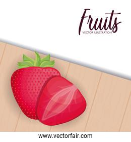 healthy strawberry fruit and slice