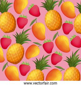 pattern of pineapples with strawberries and mangoes