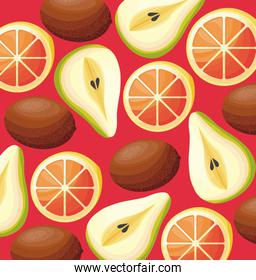 pattern of kiwis with pears and oranges