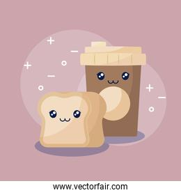 coffee with bread kawaii character