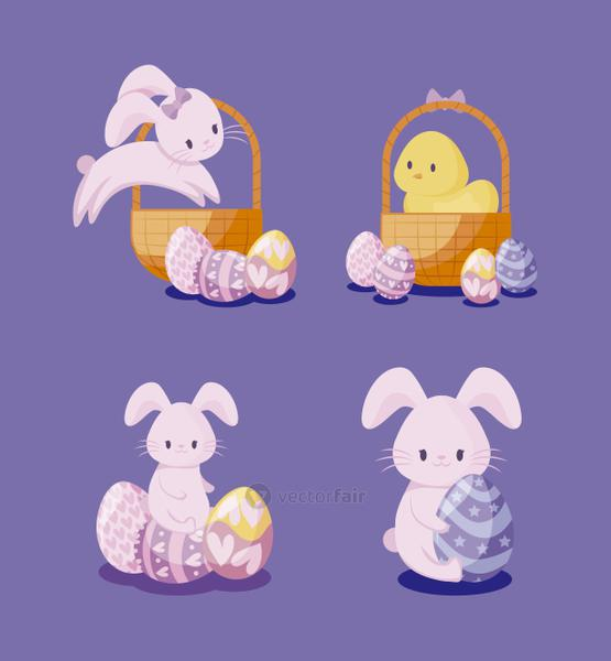 set of cute rabbits and chicken of easter