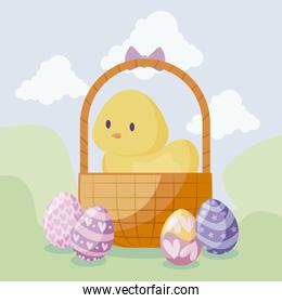 cute chicken in basket with eggs of easter