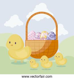 cute chickens with basket and eggs of easter