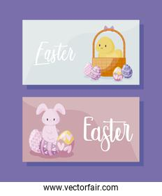cards with cute rabbit and chicken of easter