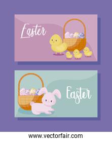cards with cute rabbit and chickens of easter