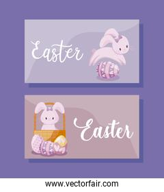 cards with cute rabbits female of easter