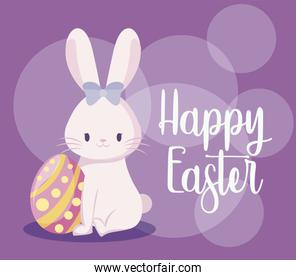 cute rabbit female with egg of easter