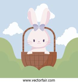 cute rabbit female of easter in basket and landscape