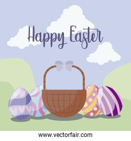 basket with eggs of easter in landscape