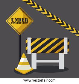 under construction label with cones