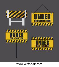 under construction label with set of signals