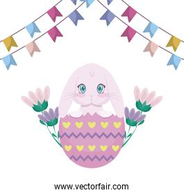 cute rabbit with egg of easter broken