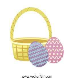egg of easter with basket wicker