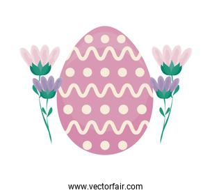 decorated egg of easter with flowers