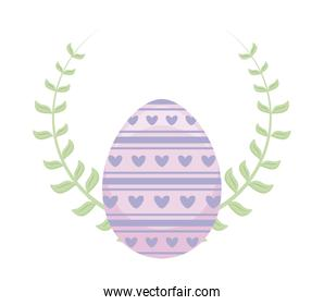 decorated egg of easter with branch and leaves