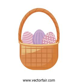 eggs of easter in basket wicker