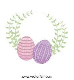 set of easter eggs with leafs