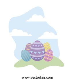 set of decorated eggs easter in grass