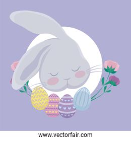 head rabbit with eggs of easter and flowers