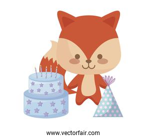 cute fox with sweet cake and hat party