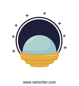 video game spaceship flying icon isolated