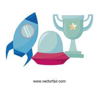 video game pixelated spaceships and trophy