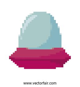 video game pixelated spaceship icon vector ilustrate