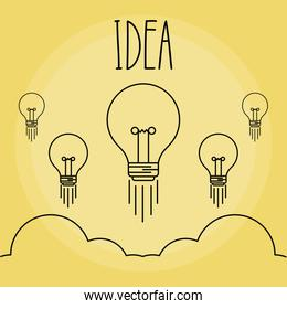 set of light bulbs idea icon