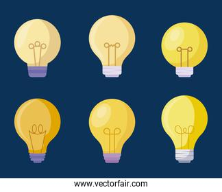 set light bulbs icons