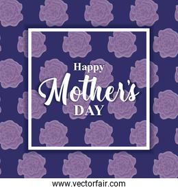 happy mother day card with pattern of flowers