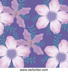 pattern of beautiful flowers with branches and leafs