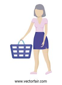woman with shopping basket isolated icon