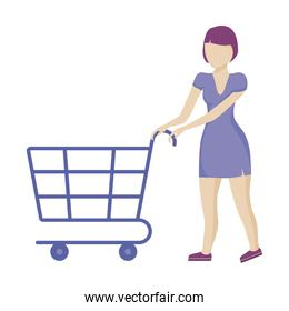 woman with shopping cart isolated icon