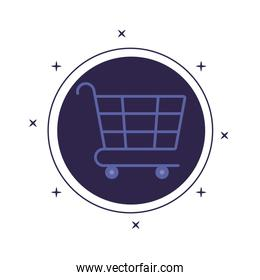 shopping cart in frame circular isolated icon