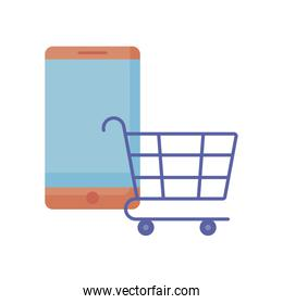 shopping cart with smartphone isolated icon