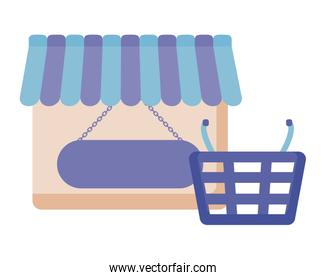 store facade with basket shopping isolated icon
