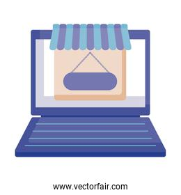 laptop computer with store facade