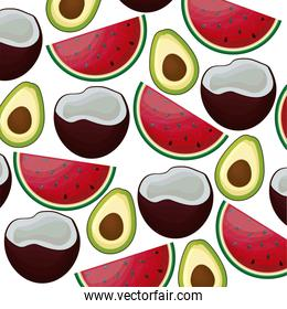 pattern of coconuts with watermelons and avocados