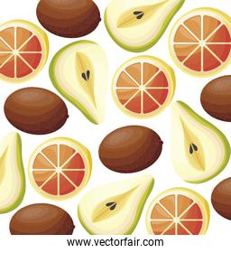 pattern of kiwi with slice orange and pear