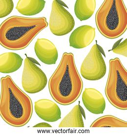 pattern of papaya with lemons and pears