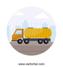 tanker truck vehicle with cityscape